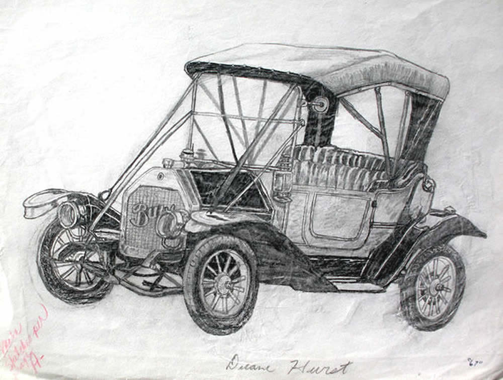 Artwork by duane hurst pencil drawing 1967 antique car