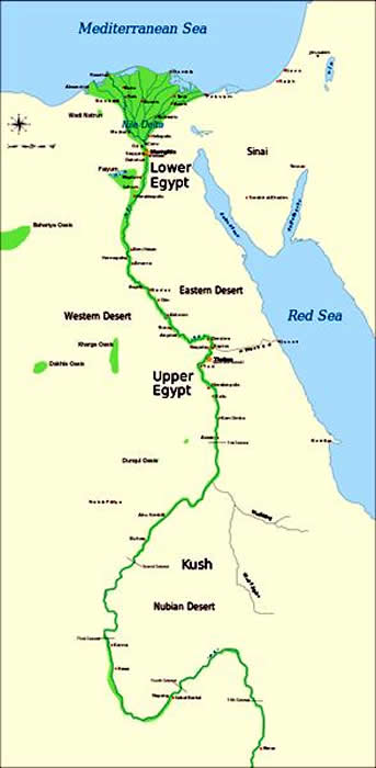 Picture Information Map Of Lower And Upper Egypt